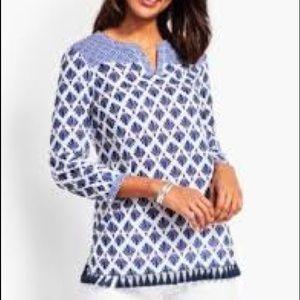 Talbots Blue Multi Pattern Tassel V Neck Tunic